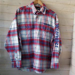 WRANGLER plaid button up shirt